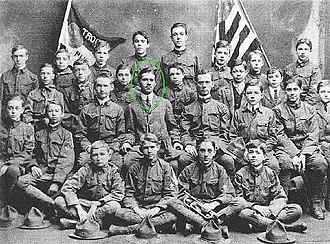 E. Urner Goodman - E. Urner Goodman (circled in green) and Troop 1 in 1913