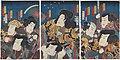 Utagawa Kunisada II - Actors Nakamura Chûtarô as Ozaki Kitsune no Kosuke, Nakamura Shikan IV as Umezawa Kurando, Ichikawa Kobunji I as Asô no Matsuwaka, Sawamura Tanosuke III as the Female Bandit Omatsu.jpg