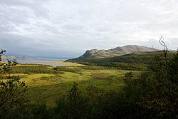 August 2009 view towards Váldatgohppi and Kunsavárri mountain in Porsanger, Norway
