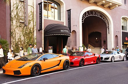 Exotic cars outside the Hotel Valencia, in Santana Row, San Jose. Valencia Hotel, Santana Row, SJ 02.jpg