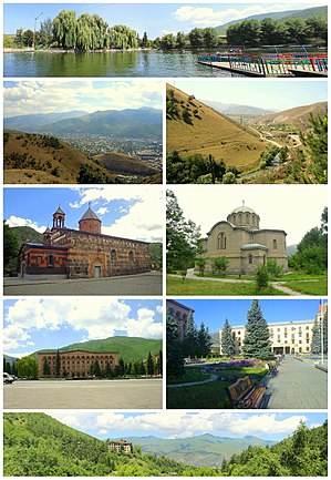 From top left: Vanadzor Central Park Vanadzor skyline • Pambak River Church of the Holy Mother of God • Russian Church of the Nativity Lori Province administration • Hayk Square Pambak Mountains around Vanadzor