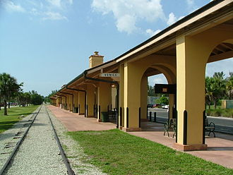 Venice Seaboard Air Line Railway Station - Venice Seaboard Air Line Railroad Depot, Venice, Florida (USA), viewed from south end of station platform and railroad tracks.