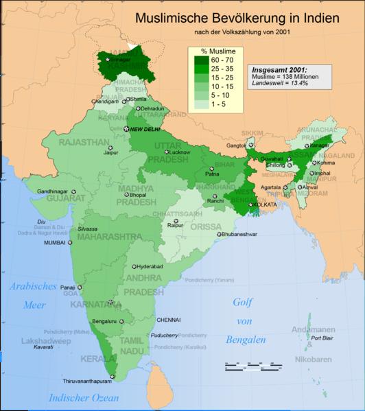Datei:Verbreitung des Islam in Indien 2001.png