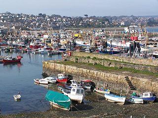 Newlyn town in Cornwall, England