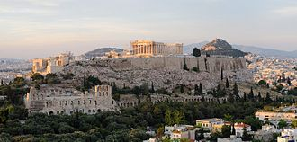 Athens - Acropolis of Athens, with the Roman-era Odeon of Herodes Atticus seen on bottom left