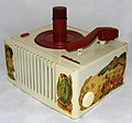 Vintage RCA 45 RPM Record Player, Model 45-EY-26, 3-Tube Amp, Alice In Wonderland Motif, Painted White Bakelite Case, Made In USA, Circa 1951 (20066951215).jpg
