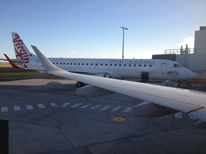 File:Virgin Australia (VH-ZPR) Embraer 190 viewed from VH-ZPK at T2 of Sydney Airport.jpg