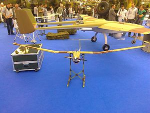 Vrabac Mini UAV - Image: Vrabac mini UAV next to Pegaz UAV