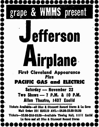 WMMS - November 1968 print ad for Jefferson Airplane concert