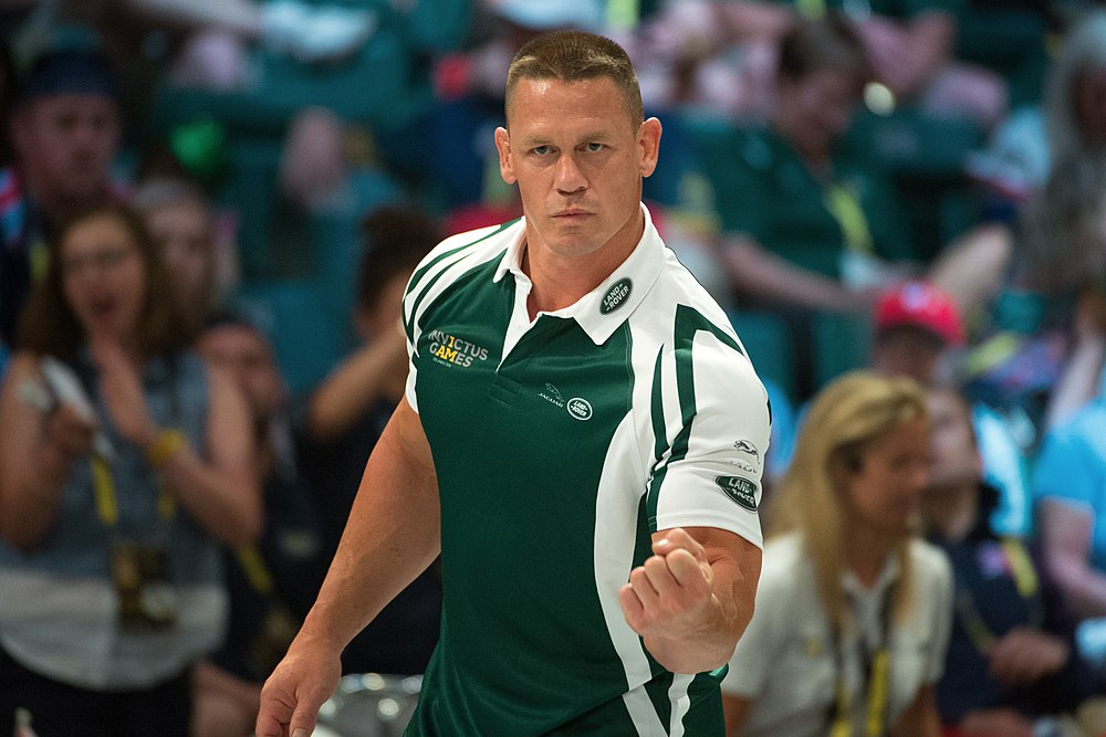 WWE superstar John Cena coaches an exhibition wheelchair rugby match during the 2016 Invictus Games (26871093342).jpg