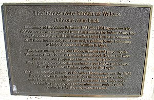 Waler horse - A plaque on the Waler horse memorial, Tamworth, NSW.