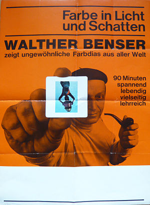 "Walther Benser - Poster for color slide presentation by Benser subtitled ""Made with light and shadow"""