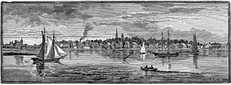 Warren, Rhode Island - 1886 engraving of Warren