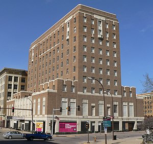 Warrior Hotel - View from the southeast, across 6th and Nebraska Streets