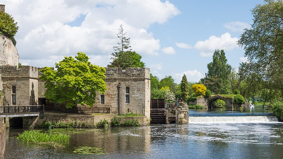 Warwick Castle - Engine House, Waterwheel, Weir, and Old Castle Bridge