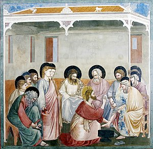 Foot washing - Christ Reasoning with Peter, by Giotto di Bondone (Cappella Scrovegni a Padova).