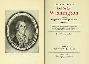 Bibliography of George Washington - Selected title page from 39 volume series