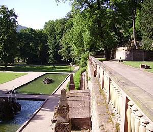 Hortus Palatinus - The ruins of the gardens in modern Heidelberg today.