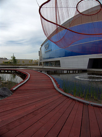 Richmond Olympic Oval - The Olympic Oval with Water Sky Garden sculpture by Janet Echelman