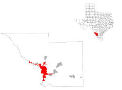 Location of Laredo in Webb County