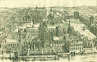 Henry Scobell - An 1884 drawing of what the Old Palace of Westminster (destroyed by fire in 1834), looked like in the time of Henry VIII when it was the seat of the Parliament of England