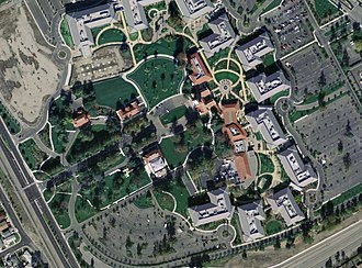 Sun Microsystems - Aerial photograph of the Sun headquarters campus in Santa Clara, California