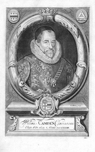 Antiquarian - William Camden (1551–1623), author of the Britannia, wearing the tabard and chain of office of Clarenceux King of Arms. Originally published in the 1695 edition of Britannia.