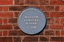 Photo of William Cowper blue plaque