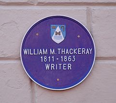William M. Thackeray plaque on the wall of the Lismore House Hotel, Main Street.