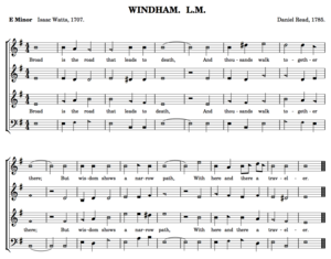 Sacred Harp - Windham (38b) from the Sacred Harp, showing the four-shape notation and the traditional oblong layout