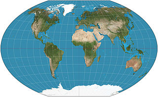 Winkel tripel projection compromise map projection defined as the arithmetic mean of the equirectangular projection and the Aitoff projection