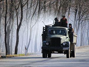 Wood gas - A wood gas truck in North Korea.