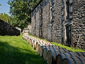 Woodford County, Kentucky - Barrels of bourbon outside the Woodford Reserve distillery