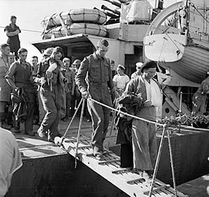 Layforce - Wounded British troops disembarking in Egypt after being evacuated from Crete