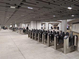 Wynyard railway station, Sydney - Ticket barriers on the eastern side of the concourse
