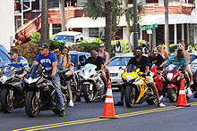 Riders In Traffic At The 2008 Black Bike Week