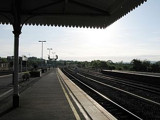 Yeovil Junction railway station - The view eastwards from the platform.