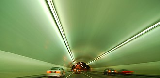 San Francisco–Oakland Bay Bridge - Traveling through the westbound Yerba Buena tunnel