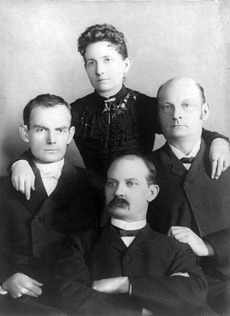 James–Younger Gang - Sitting left-to-right: Bob, Jim and Cole Younger, with their sister Henrietta