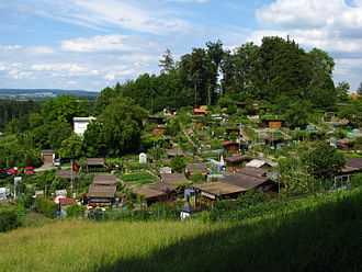 Allotment (gardening) - Typical allotments (called Schrebergärten in German) on the Käferberg hill in Zürich, Switzerland