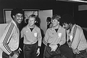 Frank Rijkaard - Rijkaard (left), with Ronald Koeman (third from right), Erwin Koeman (second from right) and Ruud Gullit (right) in the Dutch national team in 1983