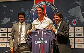 Zlatan Ibrahimović during his PSG unveiling.
