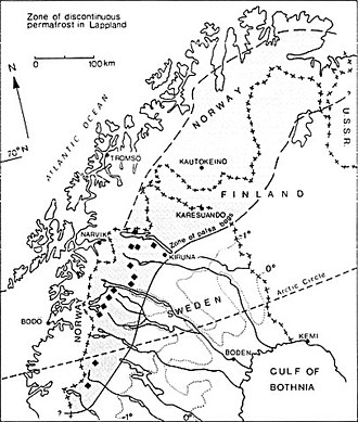 Palsa - Anders Rapp's map of the limit of palsas and discontinious permafrost in Fennoscandia.