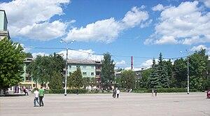 Novomoskovsk, Russia - Central square in Novomoskovsk
