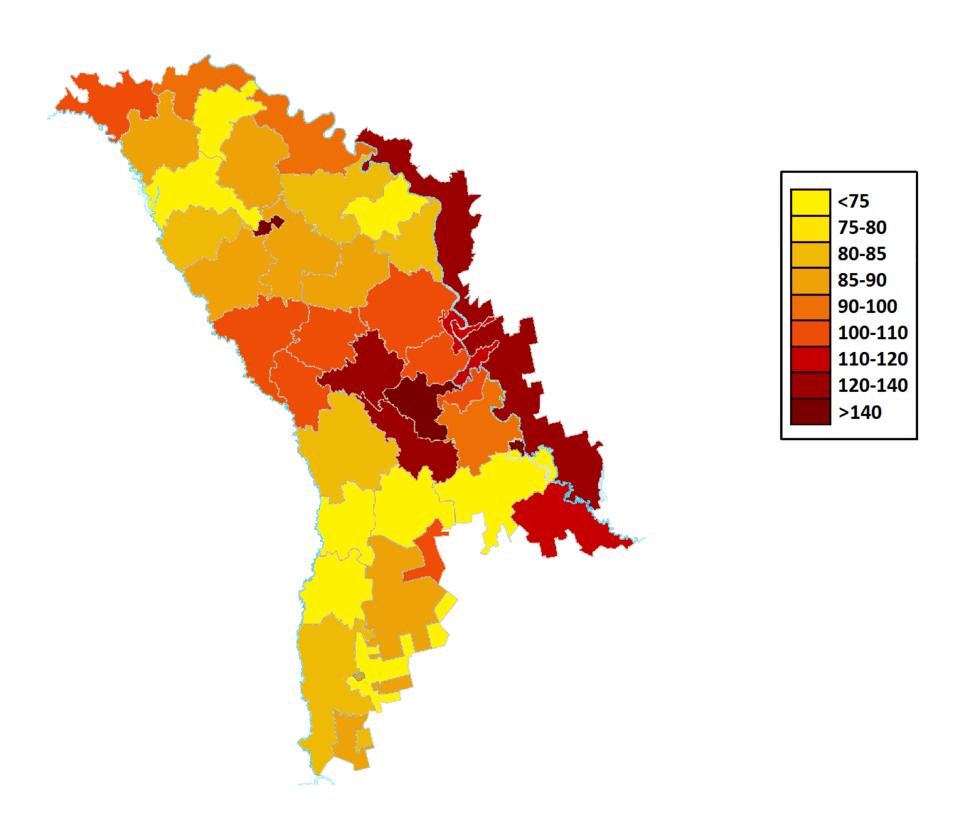 Плотность населения Молдавии на 2014 г