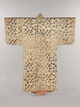 白繻子地桔梗模様摺箔-Noh Costume (Surihaku) with Chinese Bellflowers MET DP217602