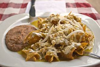 Chilaquiles - Chilaquiles with refried beans