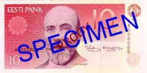 10 krooni - Obverse of the 1991 first series banknote