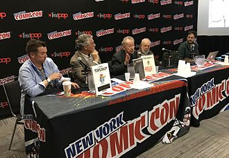 Trump (magazine) - Panel dedicated to Trump at the 2016 New York Comic Con. From left to right: John Lind, Denis Kitchen, Arnold Roth, Al Jaffee and moderator Bill Kartapoulos.