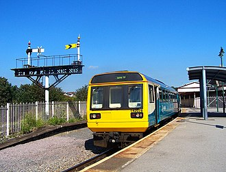 Barry Island railway station - Barry Island station platform with an Arriva Trains Wales Pacer set awaiting departure.